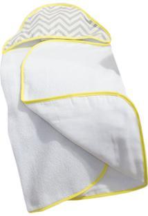 Toalha De Banho Laura Baby Capuz Estampada Chevron Amarelo