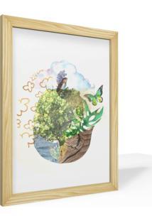 Quadro Pinus Adoraria A4 Desenho Conceitual Abstrato Natureza Plantas Borboleta Passarinho