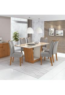 Conjunto De Mesa De Jantar Com 6 Cadeiras Apogeu Ll Linho Off White E Cinza