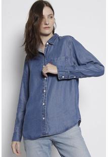 Camisa Jeans Com Bolso- Azullevis