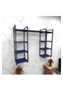 Estante Estilo Industrial Sala Aço Cor Preto 120X30X98Cm (C)X(L)X(A) Cor Mdf Azul Modelo Ind52Azsl