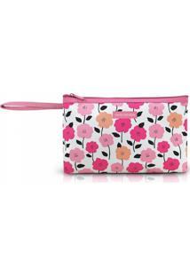 Necessaire Com Alça Tam. G Estampa Flores Jacki Design Pink Lover Rosa