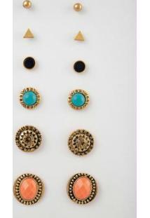 Kit Brincos Dourado Com Pedras Coloridas