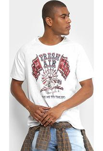 Camiseta Coca-Cola Estampada Botonê Fresh Air Masculina - Masculino-Branco