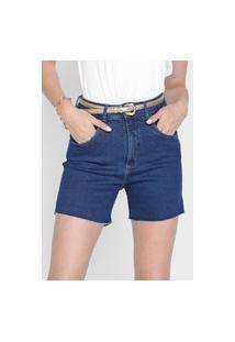 Bermuda Jeans Lança Perfume Reta Desfiada Azul