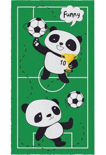 Toalha De Banho Felpuda Pandas & Futebol- Verde Escuro &Lepper