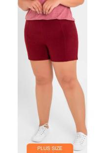 Shorts Básico Com Zíper Vermelho