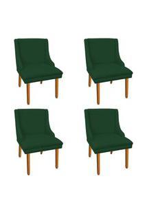 Kit 04 Cadeiras De Jantar Liz Suede Verde Pés Palito Castanho D'Rossi
