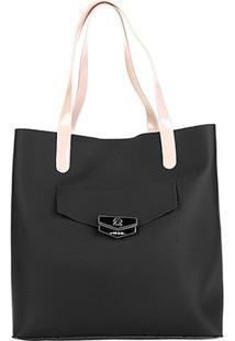 Bolsa Petite Jolie Shopper Donna Bag Rubber Feminina - Feminino-Preto