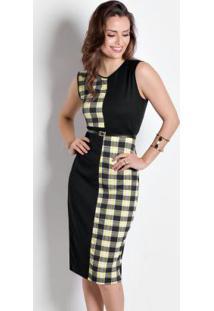 Vestido Bicolor Preto/Xadrez Moda Evangélica