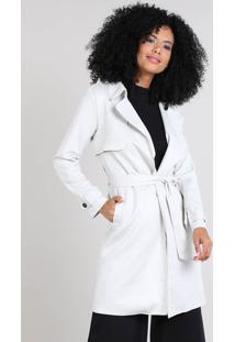 Casaco Trench Coat Feminino Em Suede Com Bolsos Off White