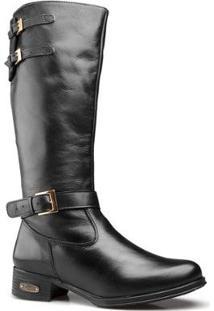 Bota Montaria Capelli Boots Couro Com Zíper Lateral Feminina - Feminino-Preto