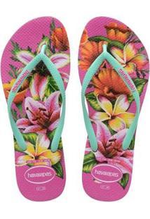 Chinelo Havaianas Slim Floral Feminino - Feminino-Verde+Rosa