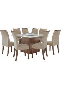 Sala De Jantar Nevada 130Cm Com 8 Cadeiras Imbuia Velvet Riscado Bege