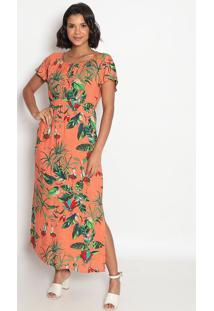 Vestido Longo Com Amarração E Elástico- Laranja Verdevip Reserva