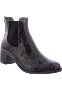 Ankle Boots Terra & Água Salto Bloco Glitter Verniz Preto