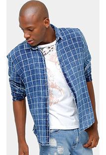 Camisa Jeans Calvin Klein Xadrez Masculina - Masculino