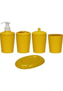 Kit Para Banheiro Ravi 5 Peças Amarelo