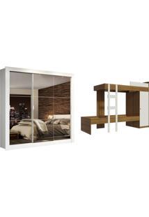 Kit Madesa Guarda-Roupa Infantil Texas 3 Portas De Correr De Espelho + Beliche Larissa Branco - Tricae