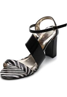 Sandália Amber Zebra Preta