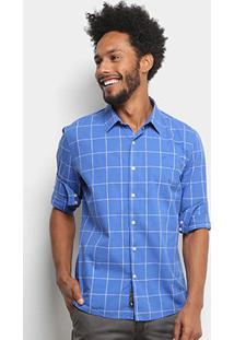 Camisa Xadrez Ellus Manga Longa Masculina - Masculino-Azul Royal