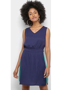 Vestido Mercatto Faixa Lateral - Feminino-Azul Escuro