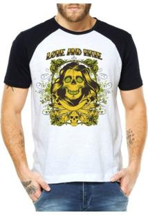 Camiseta Criativa Urbana Raglan Caveira Mulher - Masculino