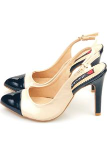 Scarpin Chanel Love Shoes Agulha Alto Captoe Verniz Off