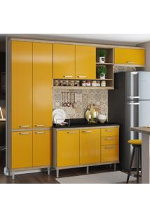 Cozinha Compacta 9 Portas 3 Gavetas Sicília Com Tampo 5841 Amarelo/Argila - Multimóveis