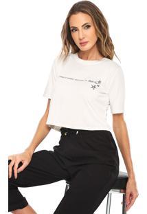 Camiseta Cropped Acrobat Empoderada Outubro Off-White