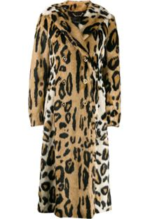 Versace Leopard Print Double-Breasted Coat - Marrom