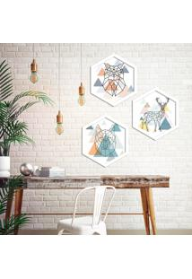 Kit 3 Quadros Com Moldura Hexagonal Animais Escandinávicos