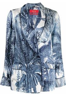 F.R.S For Restless Sleepers Blazer Com Abotoamento Simples E Estampa De Folhas - Azul