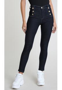 Calça Jeans Feminina Sawary Skinny Heart Cintura Alta Azul Escuro