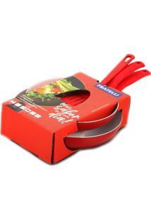 Conjunto De Frigideiras Fratelli Com Revestimento Em Cerâmica Com 3 Peças E Espátula Vermelha