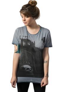 Camiseta Skull Lab Estampa Caveira Azul - Tricae