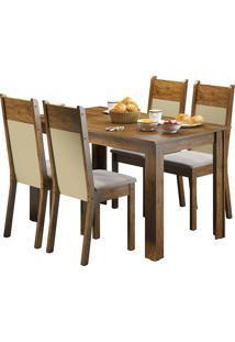 Sala De Jantar Madesa Havana E 4 Cadeiras Marrom