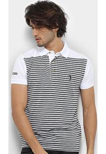 Camisa Polo Aleatory Listrada Fio Tinto Logo Bordado Masculina - Masculino-Cinza+Branco