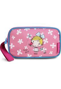 Necessaire Estojo Infantil Garotinha Loira Jacki Design Pequeninos Pink - Kanui
