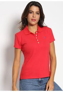 Polo Slim Fit Em Piqu㪠Com Bordado- Vermelha & Azul Royaaleatory