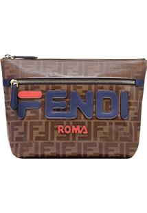 Fendi Clutch 'Double F' Com Logo - Marrom