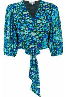 Ganni Blusa Com Estampa Floral - Azul