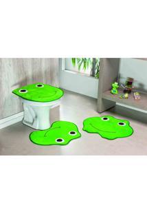 Tapete Jogo Banheiro Sapo Verde Pistache Guga Tapetes