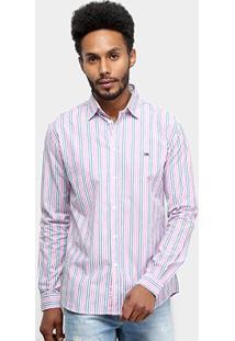 Camisa Manga Longa Tommy Jeans Listrada Essential Stripe Shirt Masculina - Masculino-Rosa+Cinza