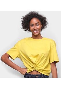 Camiseta Colcci Detalhe Transpassado Feminina - Feminino-Amarelo