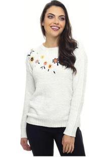 Suéter Trico Sob Em Chenille Bordado De Flor Feminina - Feminino-Off White