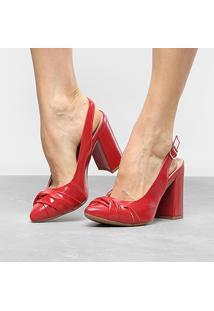 Scarpin Dakota Salto Alto Chanel Nó Frontal Follow - Feminino-Vermelho