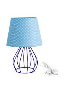 Abajur Cebola Dome Azul/Bolinha Com Aramado Azul