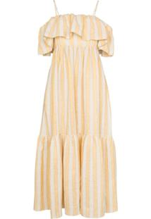Three Graces Vestido Longo Ida Com Babados - Amarelo