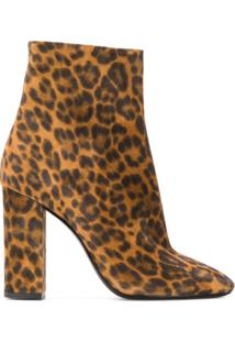 Saint Laurent Ankle Boot Lou Animal Print - Marrom